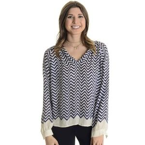 Joie Agnella Chevron Striped V-Neck Blouse